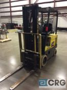 Hyster E30XL electric forklift, 3000 lb capacity, 191 in. lift height, 3-stage mast, side shift,