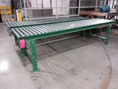 Lot of (3) 10 ft. long x 30 in. wide sections roller conveyor, 26 3/4 x 2 in. rollers