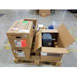 Lot of (7) assorted 2 hp motors and gearbox, (3) Baldor 3 hp, (1) Baldor 2 hp, (1) Boston Gear 2.8