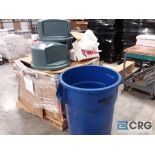 (1) 55 gallon trash can, (7) trash lids, (2) boxes of trash liners (50)/box 29 in. x 24 in. x 80