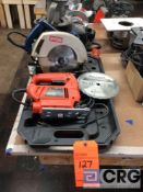 Lot including (1) RYOBI electric circular saw 7 1/4 in. blade m/n CSB123, (1) Black and Decker quick