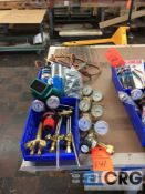 Lot of gauges to include, acetylene, oxygen, gas, welding goggles, welding accessories