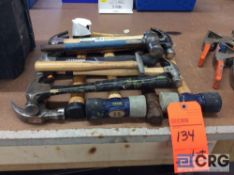 Lot of assorted hammers, to include claw, ballpen hammer, rubber mallet