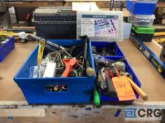 Lot of assorted tools, paint rollers, x-acto knives, router bits, screwdrivers, hammer, putty