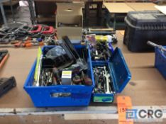 Lot of assorted tooling, drills, screwdrivers, clamps, safety glasses, pliers, sockets,