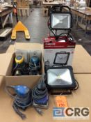 Lot of (4) assorted palm sanders with extra attachments, (2) portable work lights