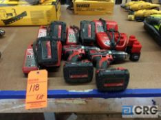 Lot of (2) Milwaukee cordless drills M18 1/2 in. drive with batteries, (3) chargers with spare