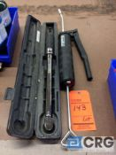 Lot including (1) CD Torque products torque wrench, (1) DynaFlo grease gun
