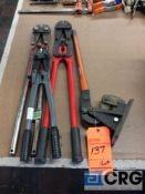 Lot of (3) bolt cutters, (1) crimper