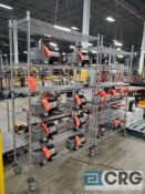 Lot of (2) rolling portable adjustable shelving metro style racking, 48 in. wide x 18 in. deep x