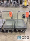 Lot of (2) PITTSBURGH hydraulic lift tables, 500 lbs capacity 18 in. x 28 in.