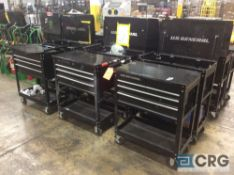 Lot of asst 4-drawer portable tool chests with open top storage