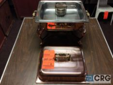 Lot of (2) 4 Qt copper plated chafing dishes, 10 x 12