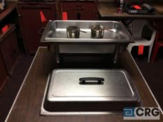 Lot of (5) 8 Qt rectangular stainless chafing dishes, with black plastic handles, 12 x 20