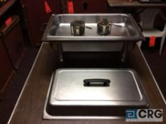 Lot of (4) 8 Qt rectangular stainless chafing dishes, with black plastic handles, 12 x 20