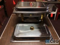 Lot of (4) 8 Qt assorted chafing dishes, rectangular stainless with brass metal handles, 12 x 20