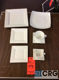 Lot of assorted white square pattern dinnerware including (360) 10 in. square dinner plates; (71) 10