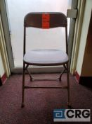 Lot of (108) metal and plastic beige folding chairs