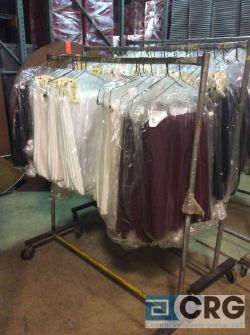 Lot of asst drapes including (8) BURGUNDY, (9) IVORY, (9) ORANGE, (6) NAVY, and (6) PURPLE
