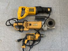 (9) Assorted Dewalt corded and cordless power tools including drills, angle grinders, and Sawzalls