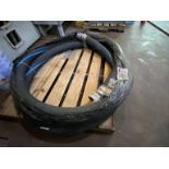 """10' X 3"""" HP rubber high pressure hose on pallet with quick connect fittings"""