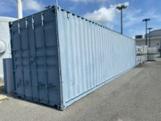 40' Conex container with new spare parts and supplies including new motors, pumps, pump parts,