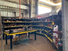 All remaining parts, supplies, and racking in tool crib area including (2) pigeon hole cabinets