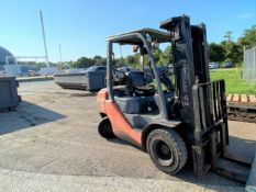 "Toyota solid tire LP forklift, 4,600# capacity, 181"" mast with side shift, 6,494 hrs."