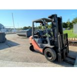 """Toyota solid tire LP forklift, 4,600# capacity, 181"""" mast with side shift, 6,494 hrs."""