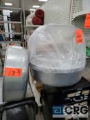 Lot of (2) aluminum cotton candy spare bowls and (1) clear spare top