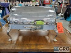 8 qt silverplated rolltop chafer with 4 in. deep pan, 12 x 20