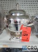 8 Qt round silver plated chafing dish, 12 in. diameter