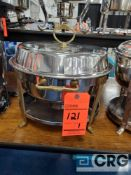 10 Qt round stainless chafing dish with brass handles, 14 in. diameter