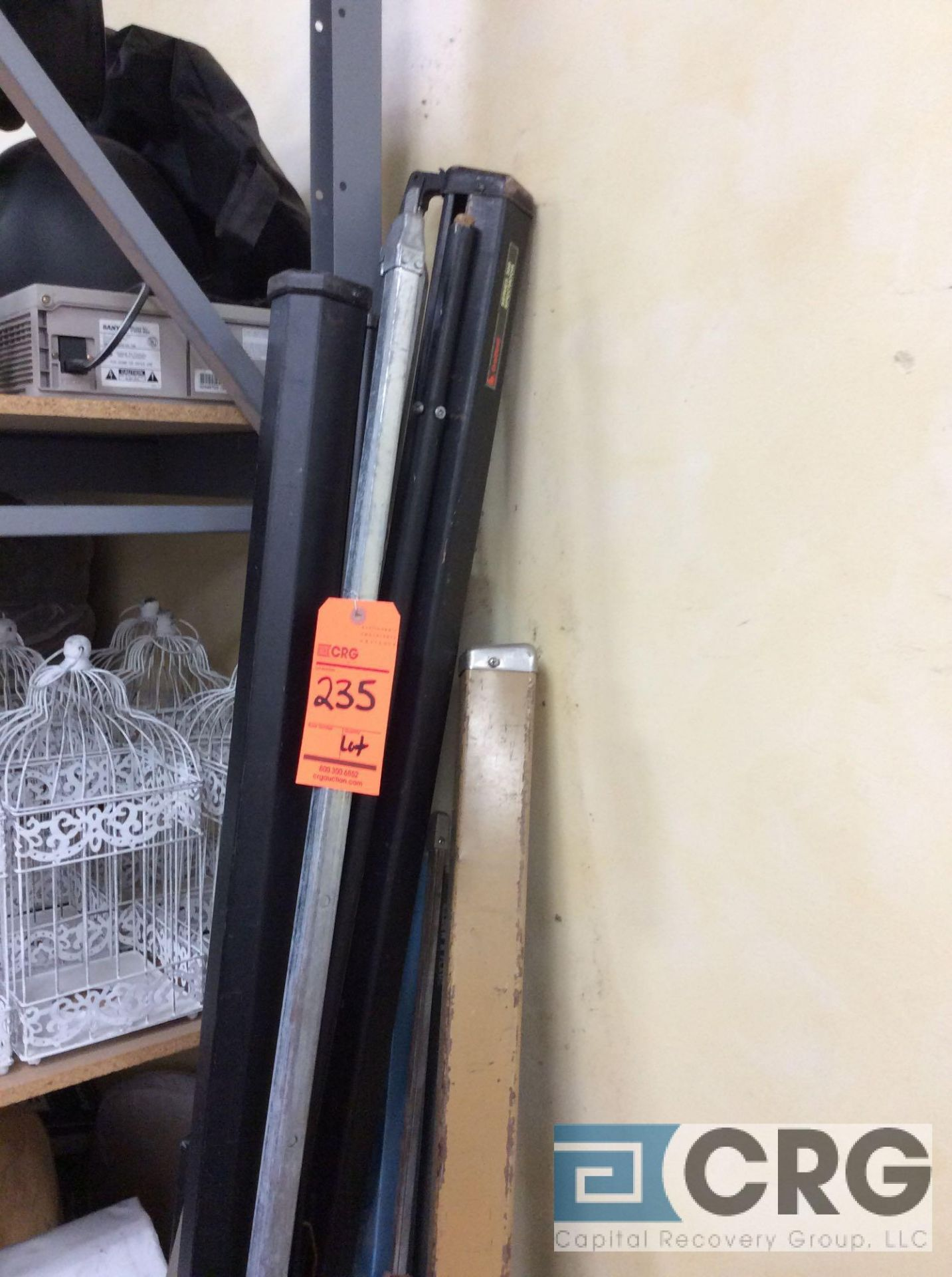 Lot 235 - Lot of assorted projector screens, (2) 70 in. x 70 in.
