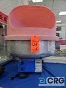 Gold Medal Auto Breeze cotton candy machine with aluminum bowl and pink plastic cover, 1 phase