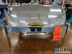 Lot of (2) 8 qt stainless rolltop chafers with brass handle and 4 in. deep pan, 12 x 20