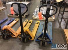 Lot of (2) asst 5000 lb cap narrow fork pallet jacks