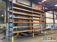 Lot of (2) sections pallet racking including (3) 18 foot uprights 42 inch deep 3 X3, (28) 10 foot