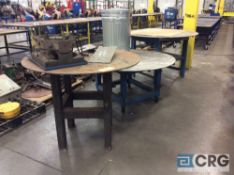 Lot of (3) steel rotating round top work tables