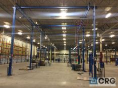 20 X 36 X 18 feet high overhead crane with (6) posts, Gorbel 2000 lb apacity span and 1 ton