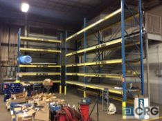 Lot of (3) sections pallet racking including (5) 16 foot high uprights 42 inch deep 3 X3, (30) 5 1/2