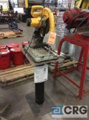 DeWalt D28715 14 inch chop saw mounted on pedestal base, 1 phase