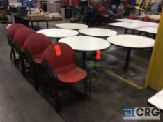 Lot of (5) round pedestal tables with (20) hard plastic stack chairs