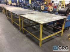 Lot of (6) asst 4 X 4 and 5 X 5 steel work tables