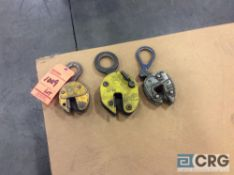 Lot of (3) asst steel lifting clamps