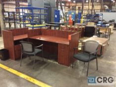 Lot of asst office furniture including desk, tables and chairs