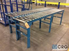 Lot of (2) 10 foot roller conveyors, 21 1/2 inch wide X 1 1/4 inch rollers