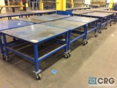 Lot of (5) 48 X 48 inch steel portable work tables