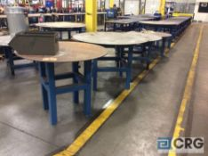 Lot of (5) steel rotating round top work tables