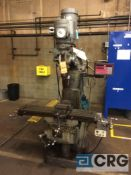 Bridgeport vertical milling machine, 1.5 HP , 9 X 42 inch table, power feed, 60-4200 spindle